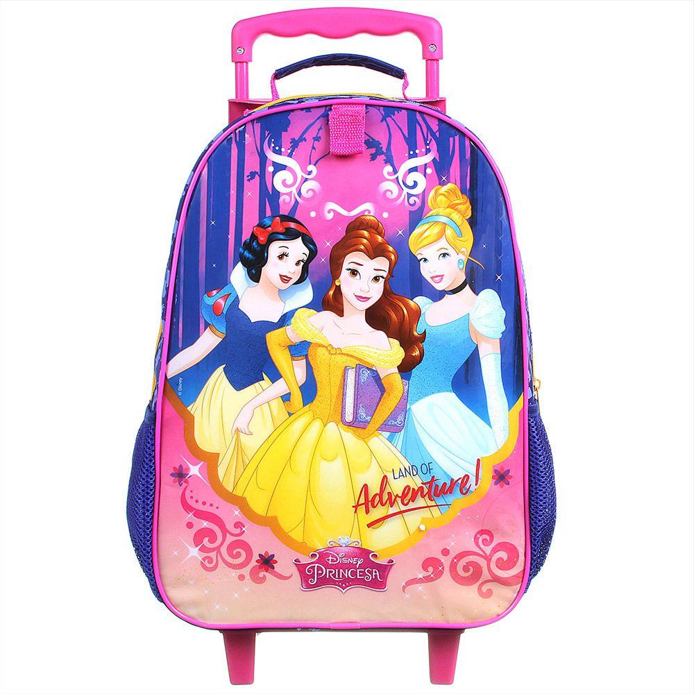 Mochila Escolar com Rodinhas Infantil Impermeável Cinderela, Branca de neve Bela - Princesas da Disney - Dermiwil
