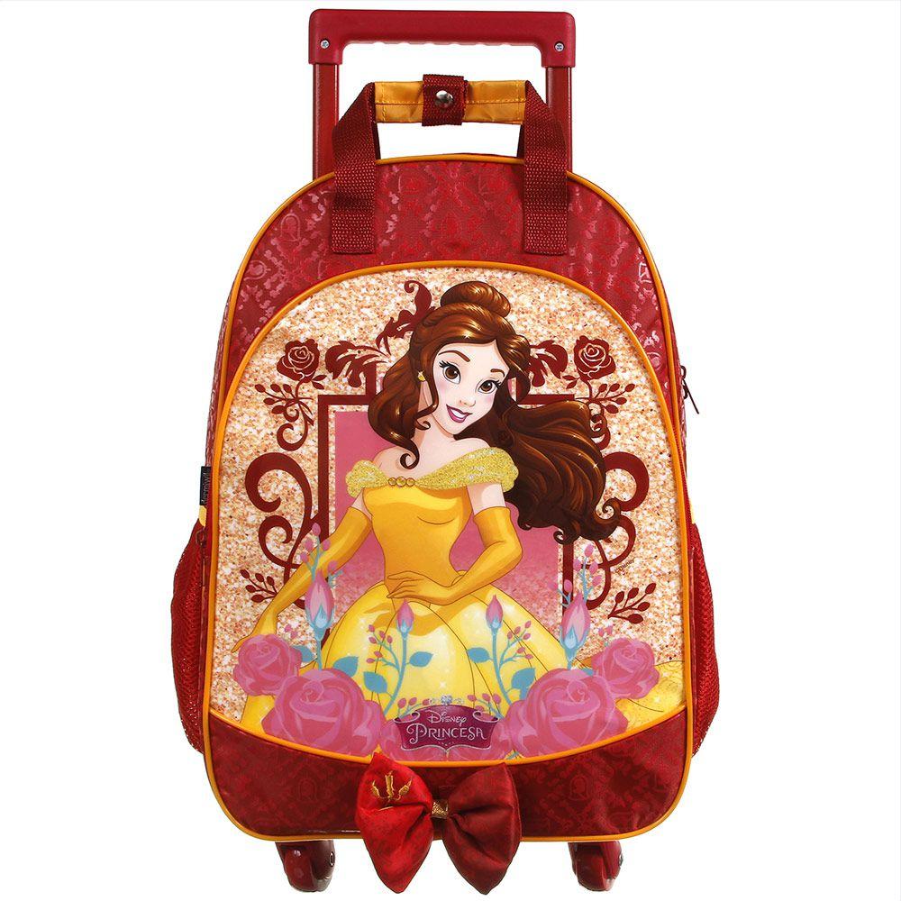 Mochila Escolar com Carrinho Infantil Impermeável Rodas 360 Bela  - Princesas da Disney - Dermiwil