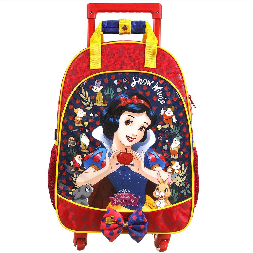Mochila Escolar Infantil com Carrinho e Rodas 360 Graus Branca de Neve - Princesas da Disney - Dermiwil