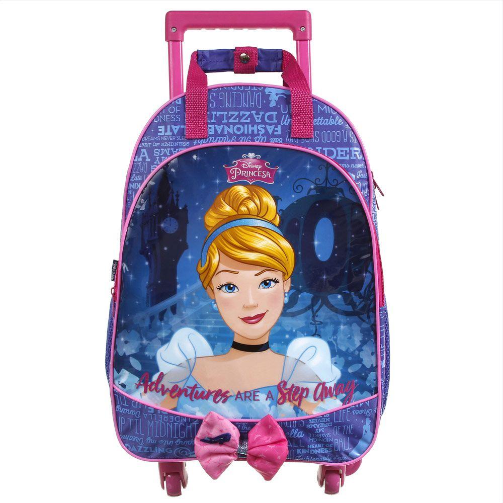 Mochila Escolar com Rodinhas 360 Graus Infantil Impermeável Cinderela - Princesas da Disney - Dermiwil