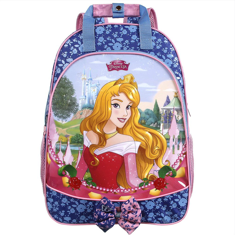 Mochila Escolar Impermeável de Costas Bela Adormecida - Princesas da Disney - Dermiwil