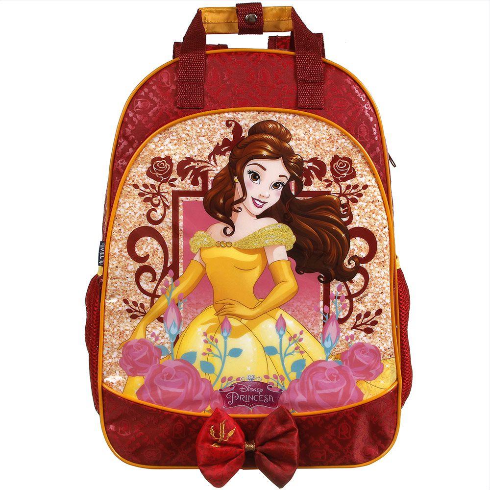 Mochila Escolar Impermeável de Costas Bela - Princesas da Disney - Dermiwil