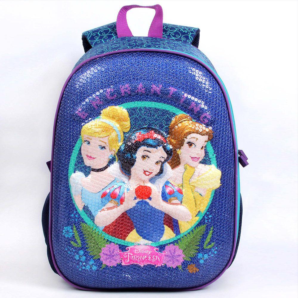 Mochila Escolar Infantil Cinderela, Branca De Neve E Bela, Para Meninas - Princesas da Disney - Dermiwil