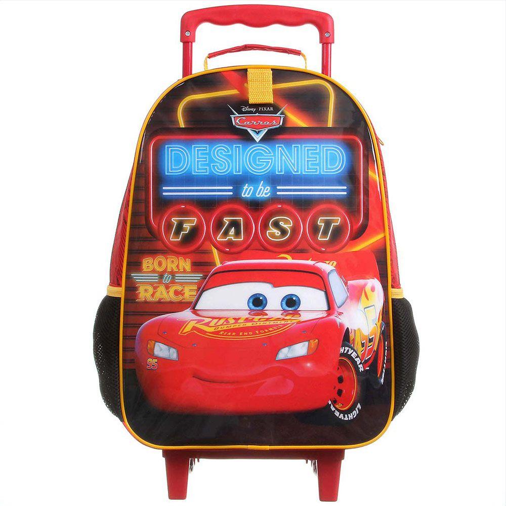 Mochila Escolar Infantil Impermeável com Rodinhas Para Meninos Carros - Mc Queen - Dermiwil