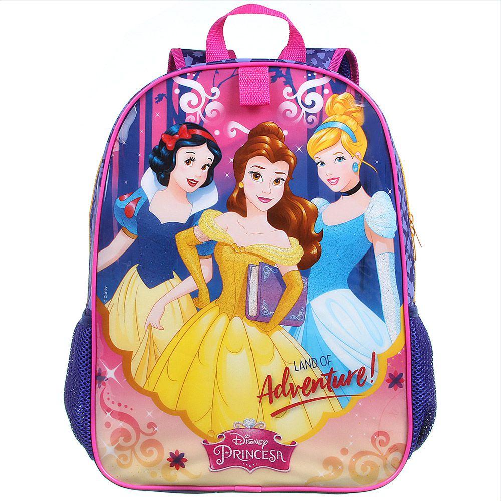 Mochila Escolar Infantil Impermeável Para Meninas Bela,Cinderela, Branca de Neve - Princesas da Disney - Dermiwil