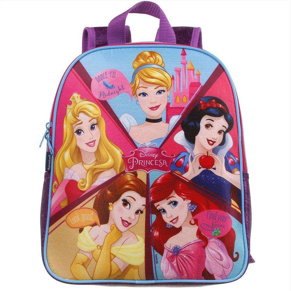 Mochila Escolar Infantil Para Meninas Bela,Cinderela, Ariel, Branca de Neve e Bela Adormecida - Princesas da Disney - Dermiwil