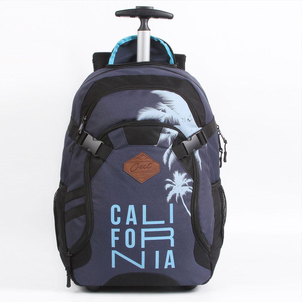 Mochila Escolar Teen Estampada Azul Reforçada Com Rodas - Califórnia - Dermiwil