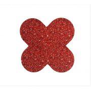 Forminha para doces 4 Pétalas Glitter Vermelho 50 UN - NC Toys