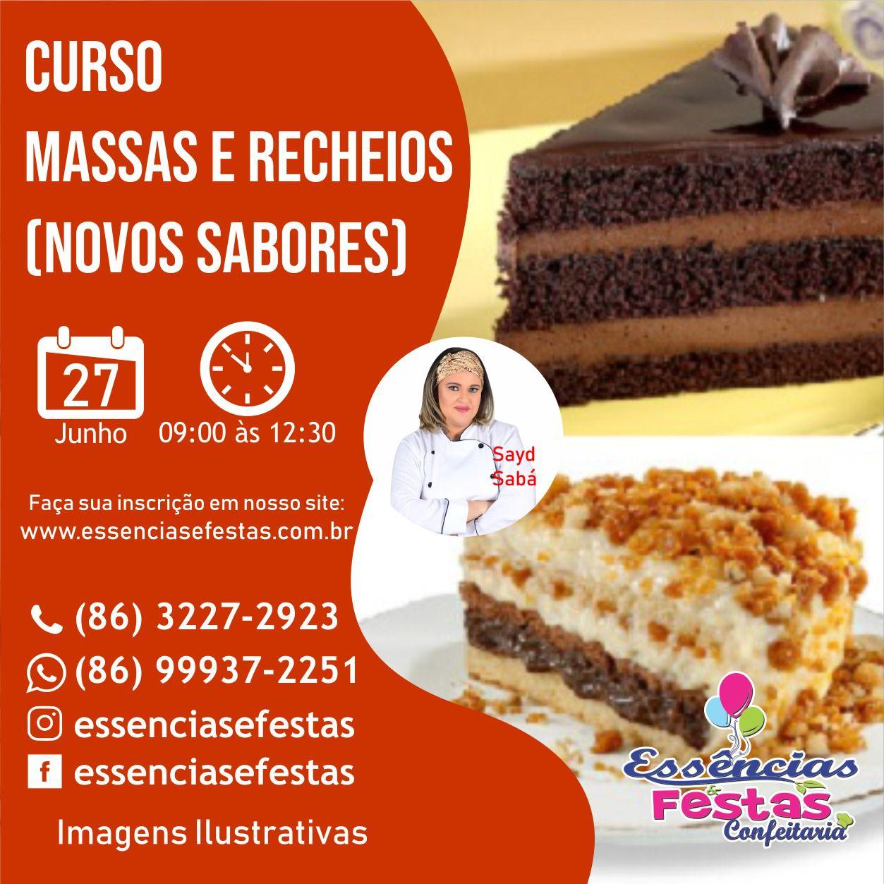 27/06- Curso de massas e recheios (novos sabores), com Sayd Sabá das 9h às  12:30h