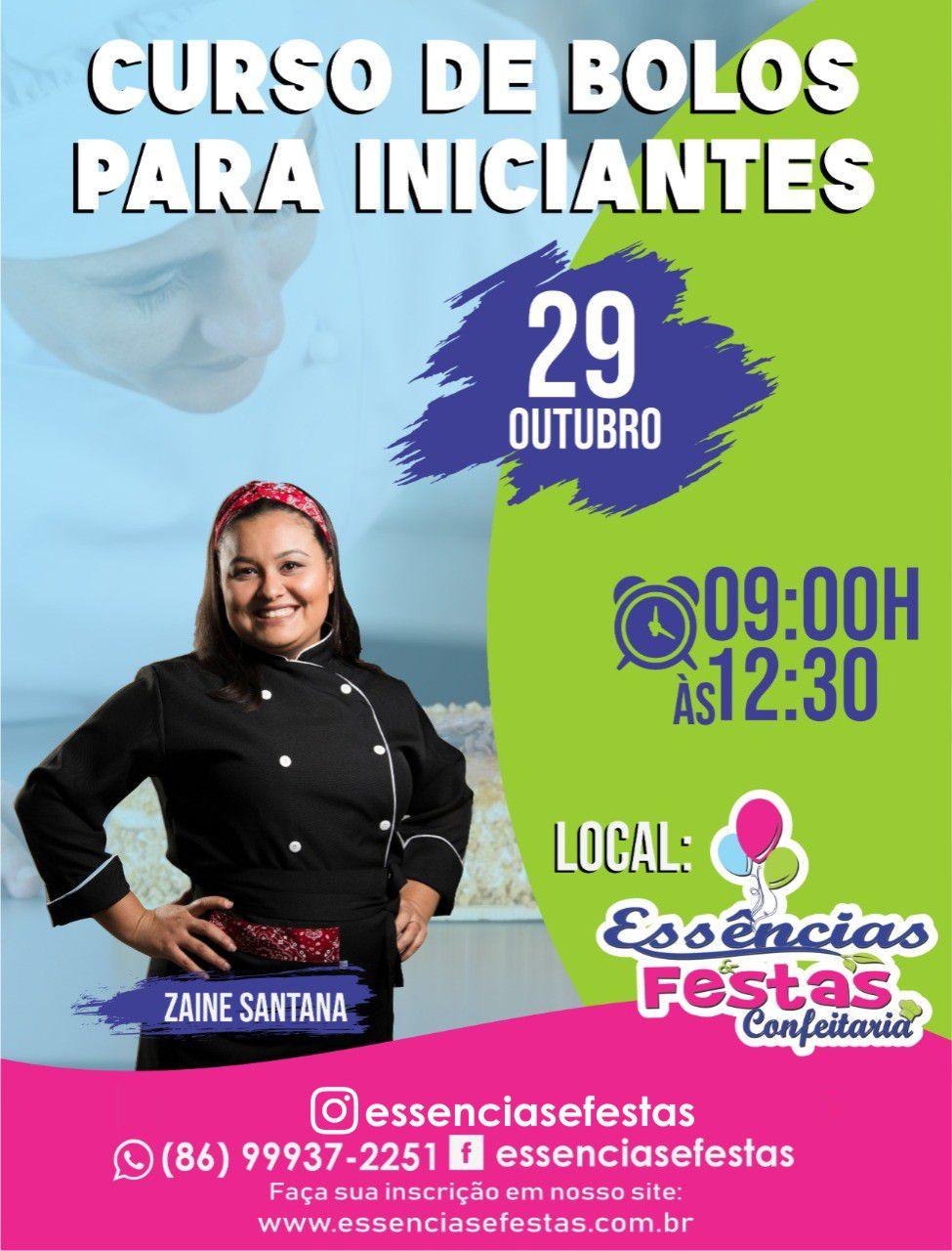 29/10- Curso de Bolos para Iniciantes, com Zaine Santana, das 9h às 12:30h