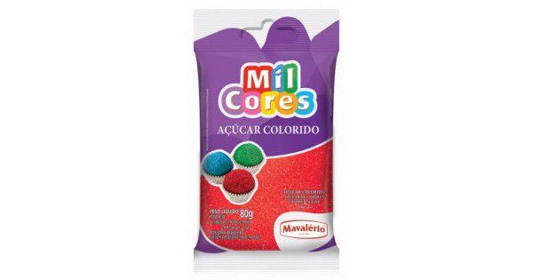 Açúcar Colorido Vermelho Mil Cores - 80g