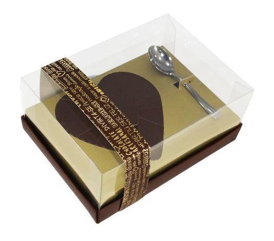 Caixa Ovo de Colher Coração de 250g - Classic Ouro - 05 unidades - Ideia Embalagens
