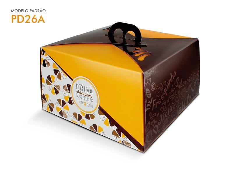 Caixa para bolo amarela 30x30x13,5 bolos de até 2kg desmontada