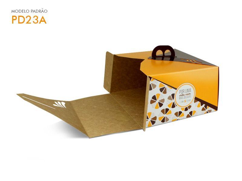 Caixa para bolo amarelo 25x25x13,5 bolos de até 1,5kg desmontada