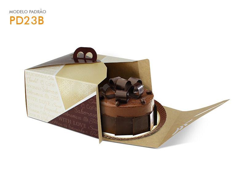 Caixa para bolo bege 25x25x13,5 bolos de até 1,5kg desmontada