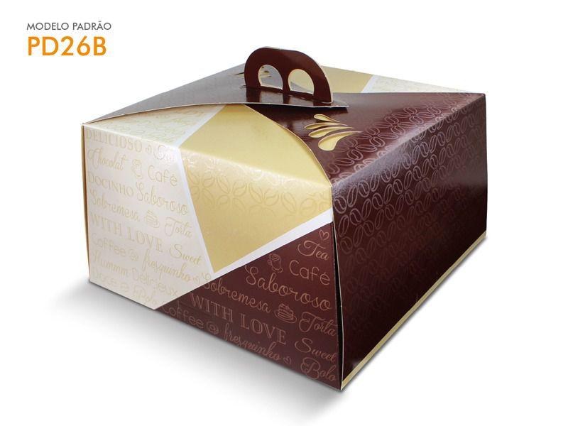 Caixa para bolo bege 30x30x13,5 bolos de até 2kg desmontada