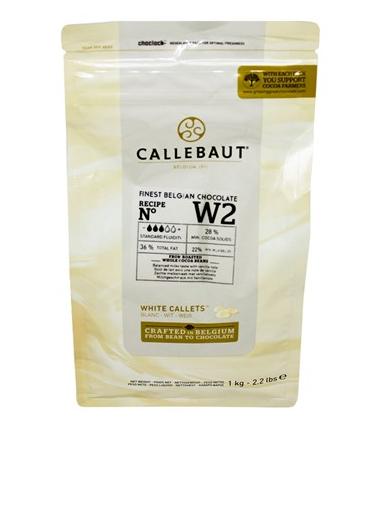 CHOCOLATE BELGA CALLETS BRANCO W2 (28% CACAU) - GOTAS 1KG CALLEBAUT