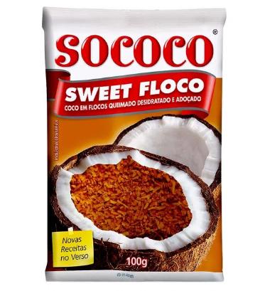 Coco Flocado queimado e desidratado e adoçado Flococo 100g -  SOCOCO