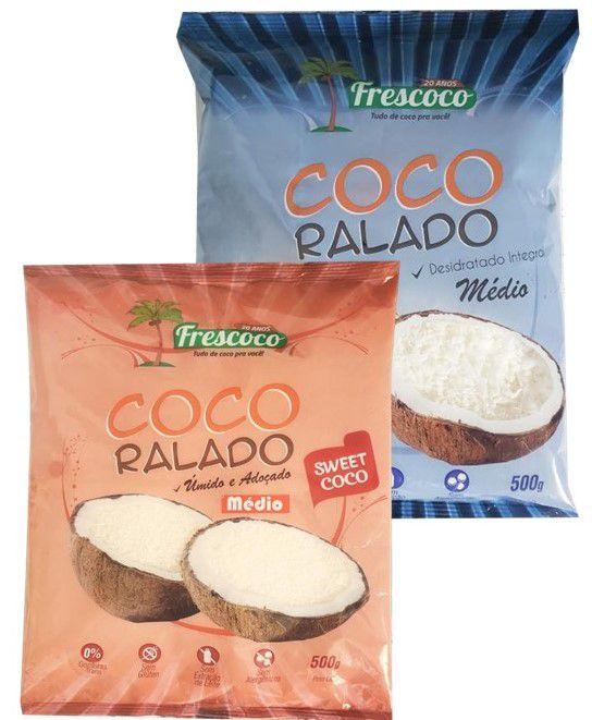 Coco Ralado Médio Integral / Adoçado 250g - Frescoco