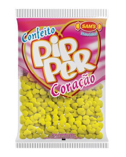 Confeito Pipper Coração Amarelo Abacaxi - 500g