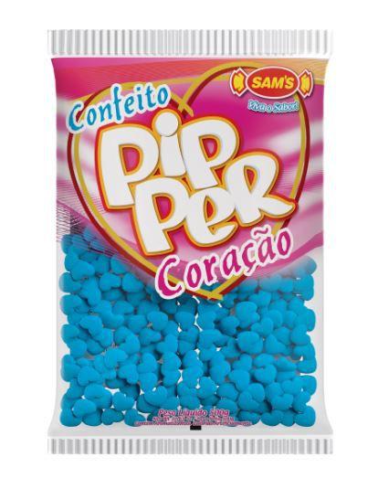 Confeito Pipper Coração Azul Claro - 500g