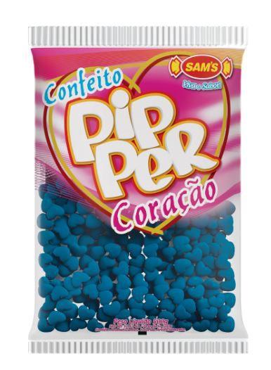 Confeito Pipper Coração Framboesa Azul - 500g