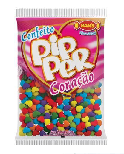 Confeito Pipper Coração Frutas Sortido - 500g