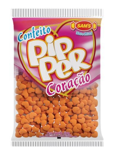 Confeito Pipper Coração Laranja - 500g
