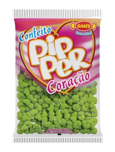 Confeito Pipper Coração Maçã Verde - 500g