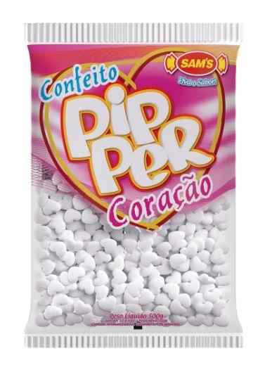 Confeito Pipper Coração Morango Branco - 500g