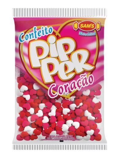 Confeito Pipper Coração Morango Colorido - 500g