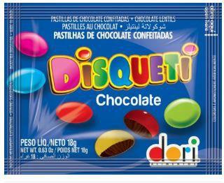 DISQUETI CHOCOLATE AO LEITE CAIXA C/18un 40g.