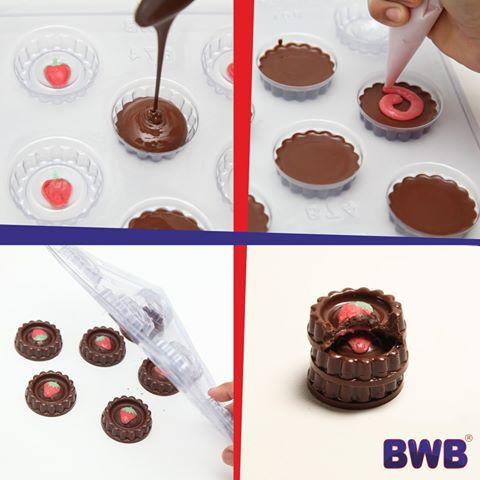 Forma de acetato com silicone biscoito recheado