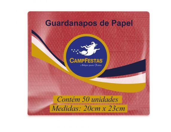 Guardanapo Crepado Folha Simples – 20cm x 23cm 50und VERMELHO