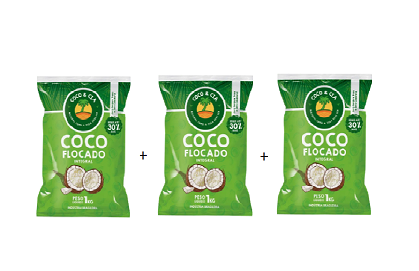 Kit com 3 Coco Flocado integral 1kg -  Coco & Cia