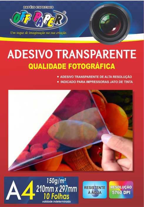 Papel Adesivo Transparente 150g A4 c/10 folhas