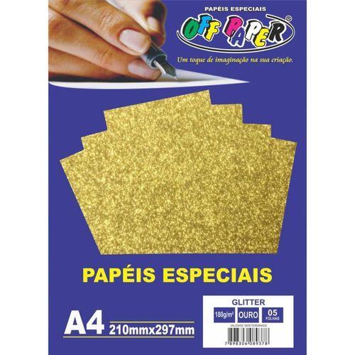 Papel especial glitter 180g Ouro c/5 folhas
