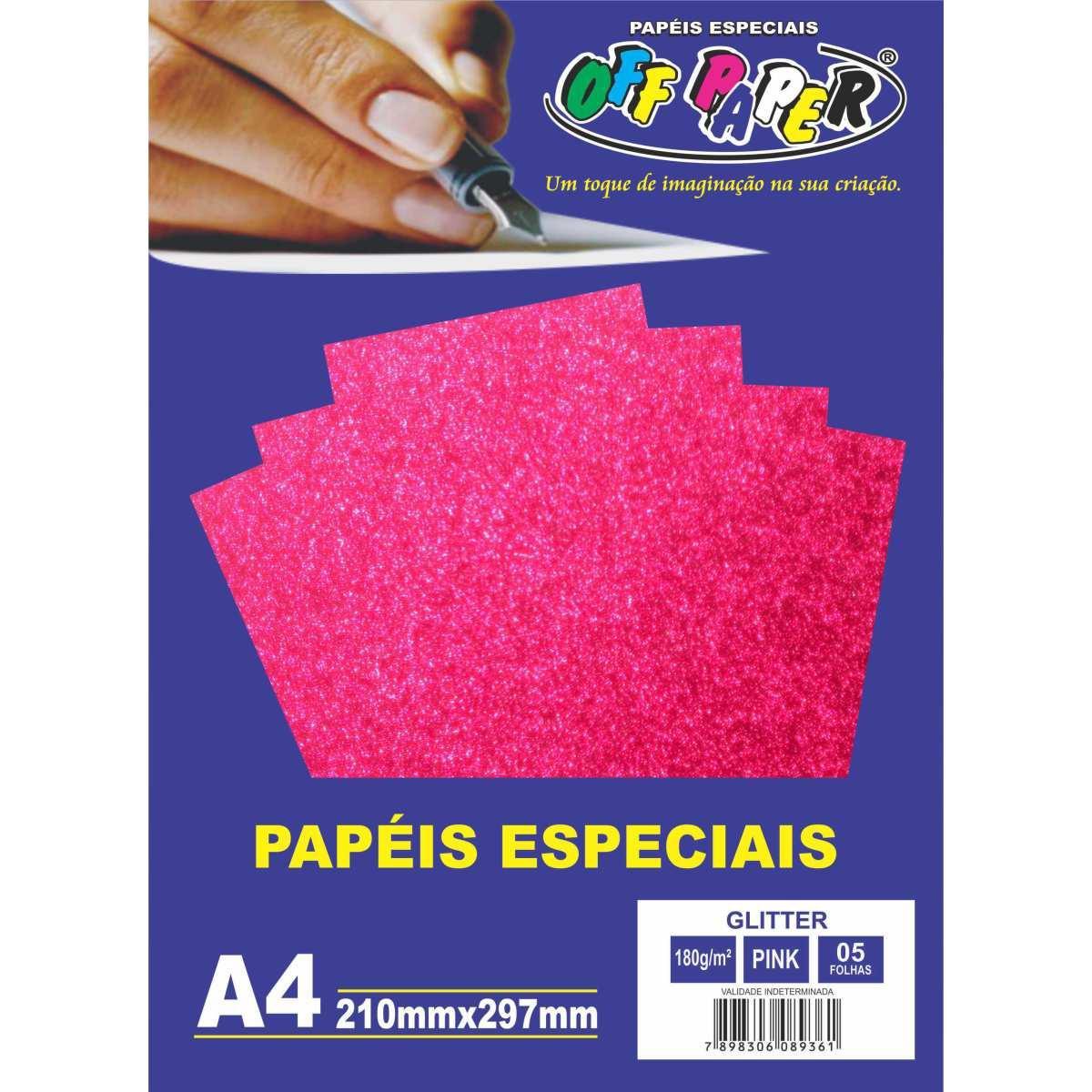 Papel especial glitter 180g Pink c/5 folhas