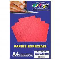 Papel especial Metalizado 150g Vermelho  c/15 folhas