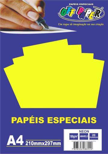 Papel especial Neon 180g Amarelo c/20 folhas