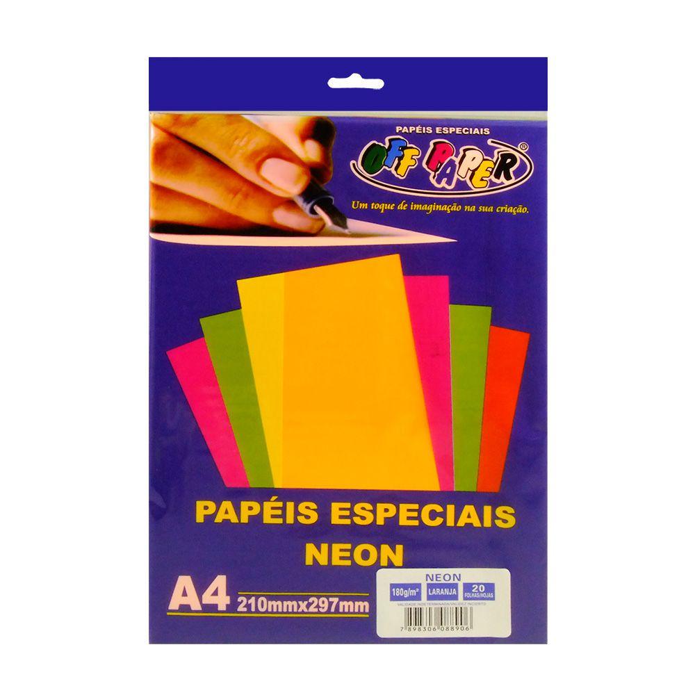 Papel especial Neon 180g Laranja c/20 folhas