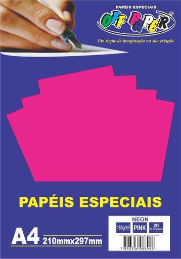 Papel especial Neon 180g Pink c/20 folhas