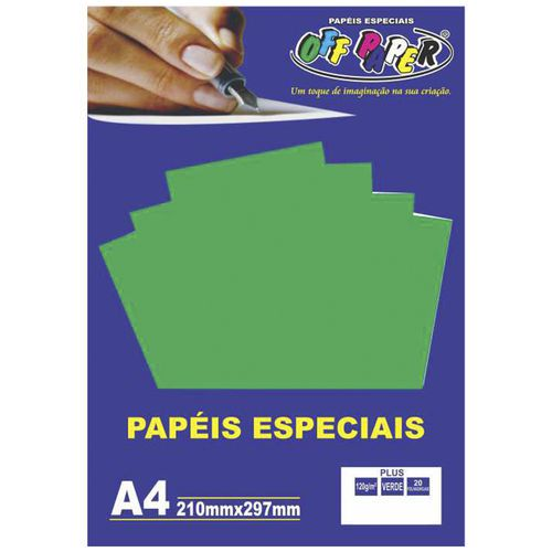 Papel especial Plus 120g Verde Lumi  c/20 folhas