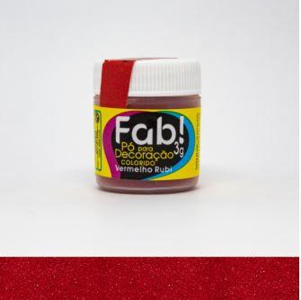 Pó para decoração Vermelho Rubi  Fab! 3g