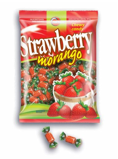 BALA MASTIGÁVEL STRAWBERRY MORANGO 600g