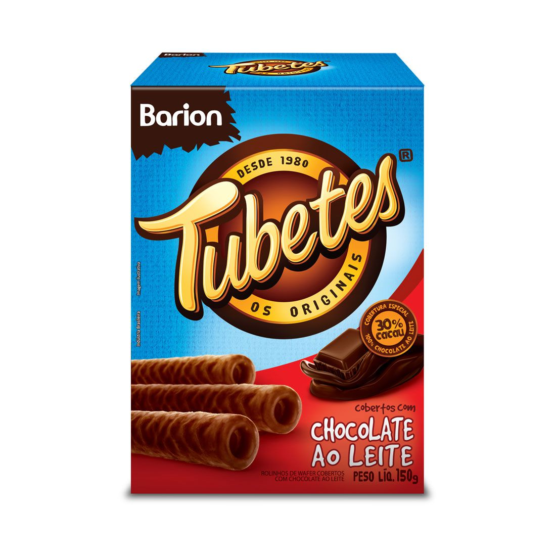 Tubetes  Coberto com chocolate ao leite 150g