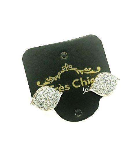 Brincos Folhas Cravejadas  Zirconias Cristal Banho Ouro 18k 3653
