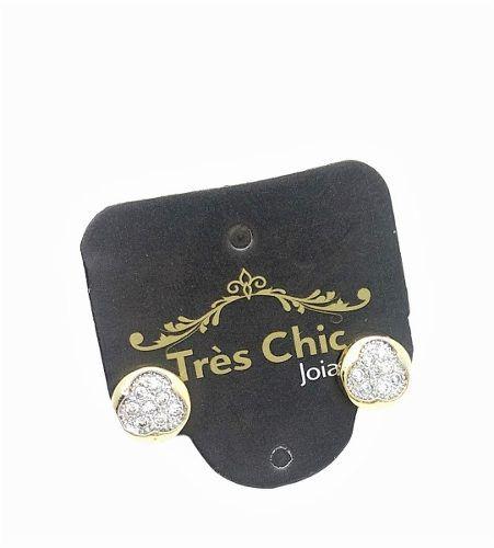 Brincos Botão Microzirconias Cristal Banho Ouro 18k 3651