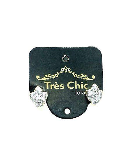 Brincos Brasão De Microzirconias Cristal Banho Ouro 18k 3644