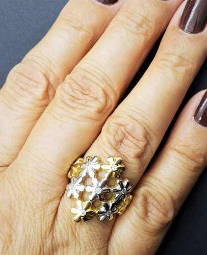 Anel Cravejado Com Zirconias Banhado A Ouro 18k  529